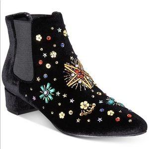 Betsey Johnson rhinestone flower velvet booties